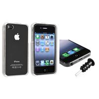 Headset Dust Cap with Eject Pin + Snap-in Crystal Case compatible with Apple® iPhone® 4 / 4S, Clear
