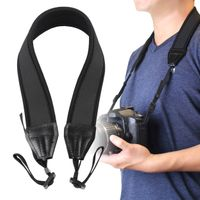 Anti-Slip Weight Reducing Neoprene Camera Neck Strap  compatible with Samsung© Digimax L210, Black