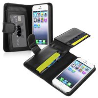 Leather Case with Wallet  compatible with Apple® iPhone® 5S, Black