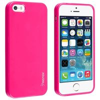 TPU Rubber Skin Case compatible with Apple iPhone 5 / 5S, Hot Pink Jelly