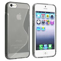 TPU Rubber Skin Case compatible with Apple iPhone 5 / 5S, Clear Smoke S Shape