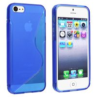 TPU Rubber Skin Case compatible with Apple iPhone 5 / 5S, Clear Blue S Shape