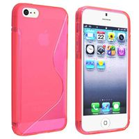 TPU Rubber Skin Case compatible with Apple iPhone 5 / 5S, Clear Hot Pink S Shape