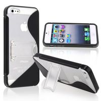 TPU Case with Stand Compatible with Apple iPhone 5, Black S Shape