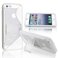 TPU Case with Stand Compatible with Apple iPhone 5, White S Shape