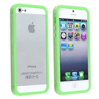 Bumper TPU Case with Aluminum Button compatible with Apple® iPhone® 5 / 5S, Clear/ Green