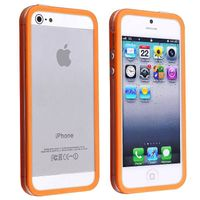 Bumper TPU Case with Aluminum Button compatible with Apple® iPhone® 5 / 5S, Clear/ Orange