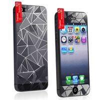 Front/ Back Screen Protector compatible with Apple iPhone 5, 3D Diamond Blink