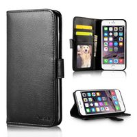 Stand Wallet Leather Case with Card Slots compatible with Apple iPhone 7 Plus, Black