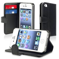 Wallet Leather Case  compatible with Apple® iPhone® 4S, Black