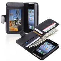 Leather Case with  Wallet Compatible with Apple iPhone 4 / 4S, Black