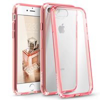 BasAcc Snap-in Case Compatible with Apple iPhone 7, Clear Hard/Pink TPU