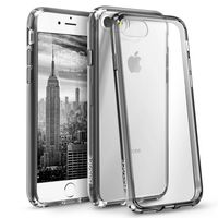 BasAcc Snap-in Case Compatible with Apple iPhone 7, Clear Hard/Black TPU