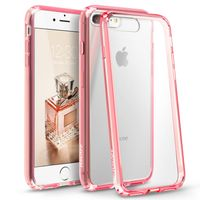 BasAcc Snap-in Case Compatible with Apple iPhone 7 Plus, Clear Hard/Pink TPU