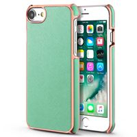 BasAcc Snap-in Leather Case Compatible with Apple iPhone 6/6S/7, Light Green/Rose Gold Frame Rear