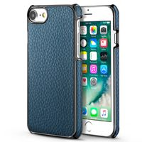 BasAcc Snap-in Leather Case Compatible with Apple iPhone 6/6S/7, Dark Blue/Black Frame Rear