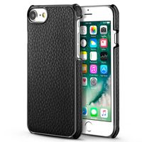 BasAcc Snap-in Leather Case Compatible with Apple iPhone 6/6S/7, Black/Black Frame Rear