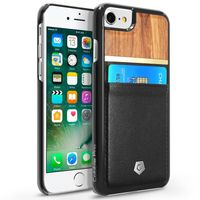 Leather Textured Back Cover with Card Slots compatible with Apple iPhone 6/7, Rose Wood/Black