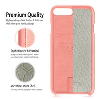 Cobble Pro Leather Textured Back Cover Case with Card Slots compatible with Apple® iPhone® 7 Plus, Pink