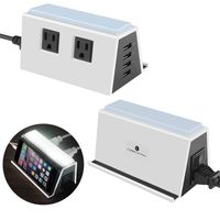 Cobble Pro 2 Power Outlet Strip 4-Port 5.4A USB Charging Station with LED Night Light, White/Black