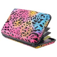 Vertical Aluminum Card Case,  Colourful Leopard Skin