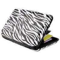 Vertical Aluminum Card Case,  Zebra Skin