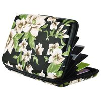 Vertical Aluminum Card Case,  Black Flowers