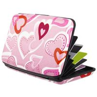 Vertical Aluminum Card Case,  Pink Heart