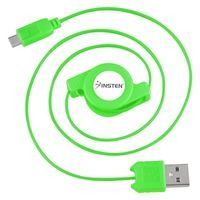 Micro USB Retractable Cable  compatible with Nokia 3711, Green