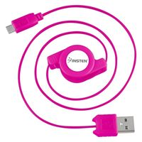Micro USB Retractable Cable  compatible with Motorola Z Series Zine ZN5, Pink