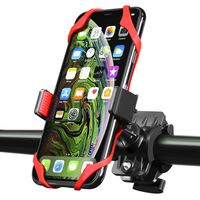 Universal Bicycle/Motorcycle Phone Holder with Secure Grip, Black/ Red