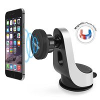 Universal Magnetic Car Phone Holder with Suction Cup, Black/Silver