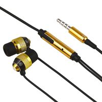 Universal 3.5mm In-Ear Stereo Headset w/ On-off & Mic  compatible with HTC Droid Incredible 2 6350, Black/ Gold