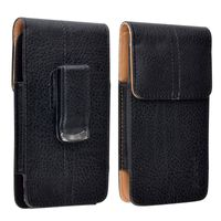 Vertical Leather Case compatible with Samsung© Express SGH-i437, Black/ Brown