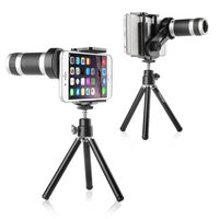 8X Telescope Camera Zoom Lens with Tripod, Black