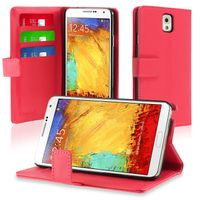 Stand Leather Case with Card Slot compatible with Samsung© Galaxy Note III N9000, Hot Pink