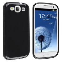 TPU Rubber Skin Case Compatible with Samsung Galaxy S III / S3, Black Jelly