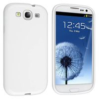 TPU Rubber Skin Case Compatible with Samsung Galaxy S III / S3, White Jelly