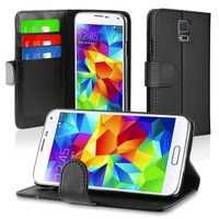 Stand Leather Case with Card Slots compatible with Samsung© Galaxy S5/ SV, Black