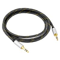 BasAcc 3.5mm 4 Feet Braided Stereo Audio Cable M/M, Silver