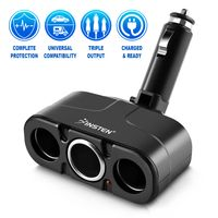 Three-Way Car Cigarette Lighter Socket Splitter  compatible with Microsoft ZUNE HD 16GB / 32GB, Black