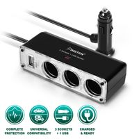 Three-Way Car Cigarette Lighter Socket Splitter w/ USB Port  compatible with Samsung© Galaxy W i8150 / Wonder, Black