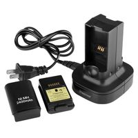 Dual Battery Charging Station  compatible with Microsoft Xbox 360 Slim, Black