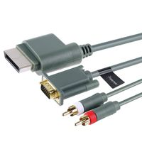 Premium VGA Cable w/ Digital Optical Audio Port  compatible with Microsoft Xbox 360, 6 FT, Gray