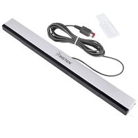 Wired Sensor Bar  compatible with Nintendo Wii, Black/ Silver