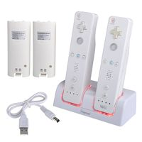 Dual Charging Station w/ 2 Rechargeable Batteries & LED light  compatible with Nintendo Wii, White