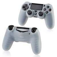 Silicone Skin Case compatible with Sony PlayStation 4 (PS4) Controller, Clear White