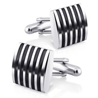 Silver Square Black Stripe Cufflinks