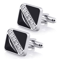 Cufflinks, Black Square with 6 Jewels