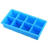 Food-grade Silicone 8X Square Ice Tray Mold, Sky Blue